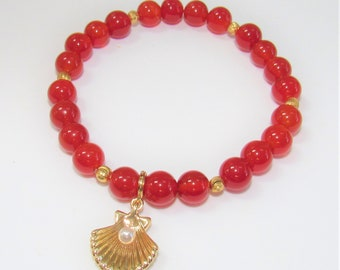 Carnelian Gold Bead Stretch Bracelet,Superior Carnelian 6mm Beads w/14K Gold Plated beads ,Removable Gold Shell charm /white pearl,8 inches