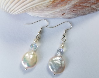 Genuine white coin pearls Earrings, Aurora borealis faceted clear crystals Earrings, small round pearl, Sterling or gold fish hook earwire