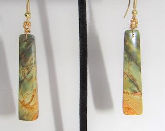 Jasper Earrings,Paddle shaped Stone,semi-rectangular,Jasper bead pair.42mm tall Jasper,Red Creek Jasper,drilled at the top,14K Gold earwires