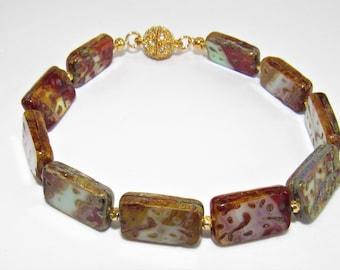 Genuine agate Bracelet,Rectangle crosscut beads,Red Cream Baby Blue,Agate Bracelet,Rectangle bracelet,Gemstone Bracelet,14kGold nugget,Agate