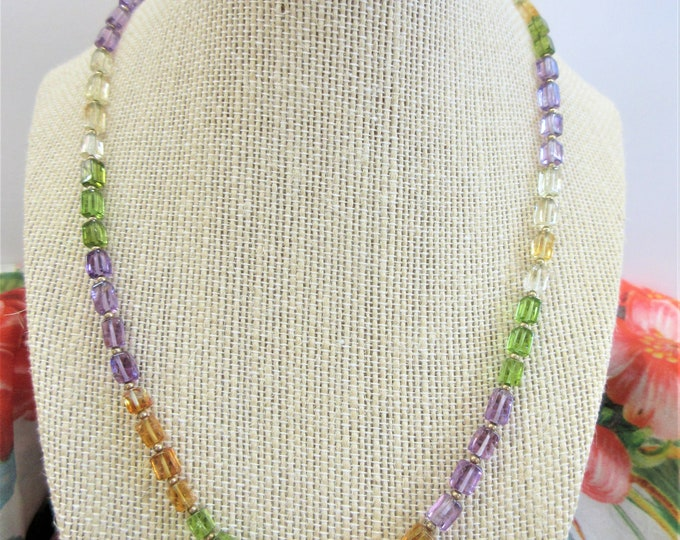 Featured listing image: Peridot Amethyst Citrine Gemstone Necklace,square bead necklace w/14K gold spacer beads clasp,58 Shades of genuine stones, 19 inch choker