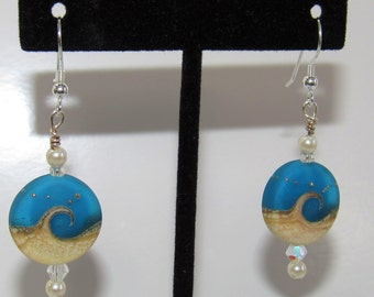 Beach Wave Earrings,True Blue w/silver dots, Lampwork Glass Beads,Swarovski Aurora Borealis,Crystals,pearls,Sterling Plated Ear hooks