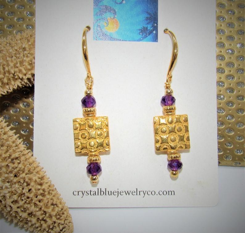 Amethyst Gold EarringsGold square earringsGold Amethyst image 0