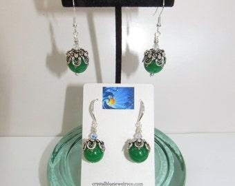 Green Jade Ball Earrings,Jade Silver cap Earrings,Filigree Jade Earrings,Sterling Jade Earrings,Fancy Jade Earrings,Formal Jade Ball Earring