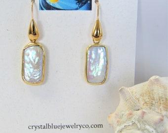 Vermeil Bezel,Bezel Biwa Pearl Earrings,Rectangle Earrings,Vermeil rectangle,Baroque Pearl,Natural Biwa pearl,Gold Plated fish hook ear wire