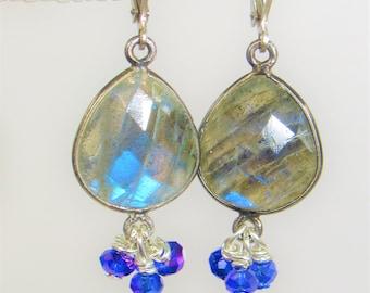 Labradorite Teardrop,Silver Earrings,Faceted Labradorite,Sparkling Gemstones,Tanzanite color Crystals,Faceted Crystals, Leverback Sterling