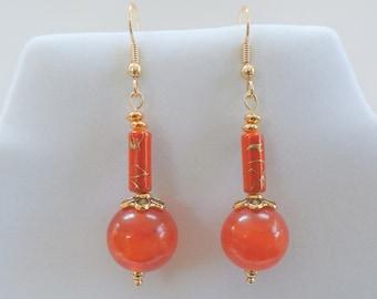 Carnelian Drop Earrings - 15mm Genuine Carnelian antique beads, Porcelain bead Asian beads,14K Gold plate Earwires,Orange Carnelian Balls