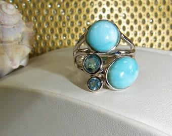 Larimar Silver Ring,Size 7,Blue Topaz Stones,Double Cabochon,Double Blue Topaz,.925 Ring,Silver Modern Ring,Multi Gem Ring,Robin Egg Blue