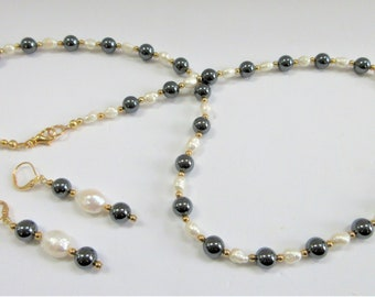Pearl Hematite necklace,14K Gold bead, Pearl necklace,Matching earring,White Pearls, Edgy Pearls,Hematite,Excellent Quality,Natural Pearls