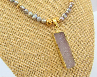 Silver Gray Freshwater Pearls,Druzy Modern Pendant 14K G Leaf,20 inch,Sparkling Gray Druzy  Enhancer 1.25 inch X .50 inch, Bright Gold Leaf