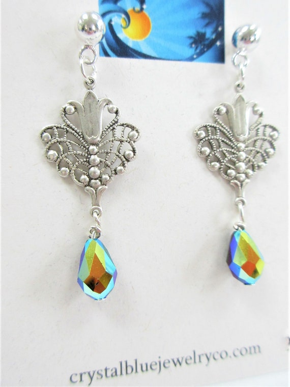 Filigree Silver Swarovski drop earring,choice of black or pale blue aurora teardrop,pierced 5mm Sterling ball clutch,Victorian style finding