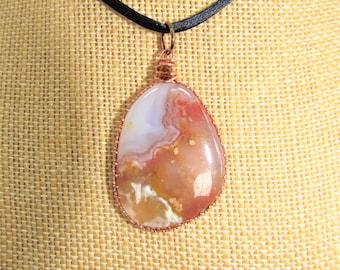Moroccan Agate Pendant,Agate Pendant,Copper Framed,Agate Pendant,Marbled Sunset,2 side,Polished Agate Pendant,Unisex Pendant,Carnelian Drop