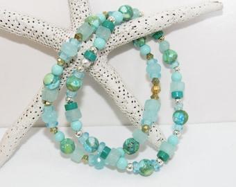 Turquoise Bead Bracelet,Howlite Bead Bracelet,Aqua Bead Bracelet,Seaglass Blue bracelet,Chalcedony blue bracelet,14K Aqua bead,Aqua Bracelet