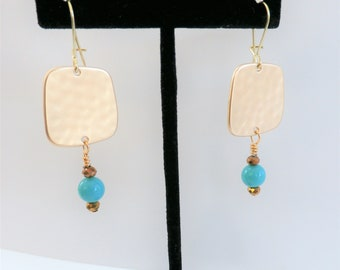 Hammered gold square earrings with turquoise and faceted bronze sparkling crystal,on french wires.All hand wired with 14k gold plated wires.