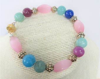 Pink Blue Gold  Gemstone Bracelets, Pink Mother of pearl beads,14Kplate accent beads,magnetic, 8.5 Inches, 2 choices, take 1, or 2 bracelet