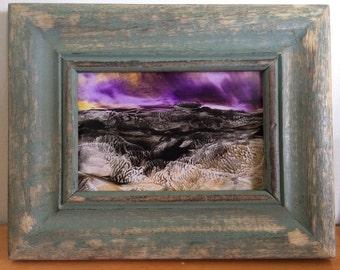 Encaustic Dark night landscape painting framed
