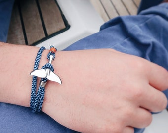 steel hook jewelry rope marine style for boat enthusiast Hook bracelet Paracord blue and yellow gift for men