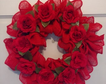 Red burlap wreath with red roses