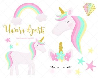 Unicorn clipart   Etsy