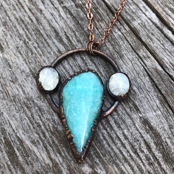 June Birthstone Gemstone Necklace Orange Electroformed Orange Agate Organic pendant Moonstone and Cooper Necklace Copper necklace