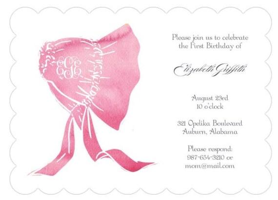1st Birthday Invitations Baby Girl Invites Custom