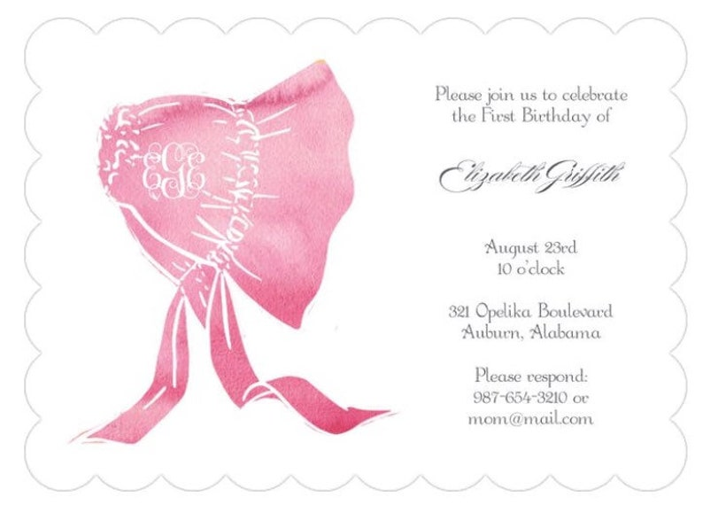 1st Birthday Invitations Baby Girl Invites Custom