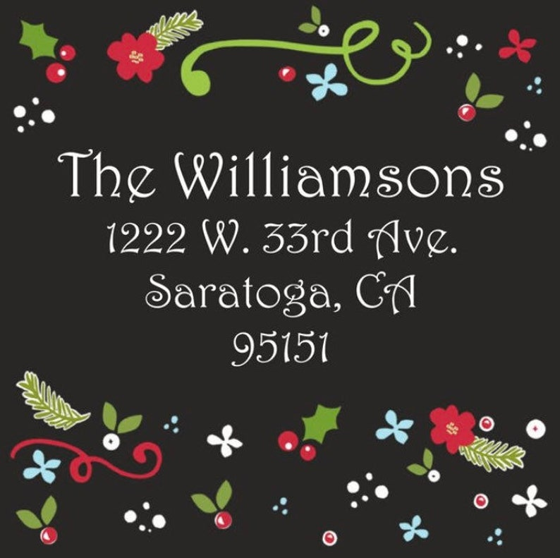 Self adhesive christmas stickers Gift Sticker printed gift stickers square Address Labels Set of 40 Christmas floral stickers