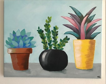 Succulents, Acrylic Painting on Canvas, 16x20