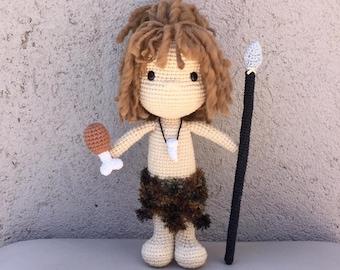 Crochet Pattern Amigurumi Cave Boy PDF - Patron ganchillo Amigurumi Niño de las Cavernas PDF