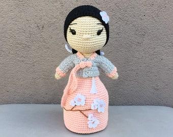 Crochet Pattern Amigurumi Cherry Blossom Girl PDF - Patron Ganchillo Amigurumi Flor de Cerezo PDF