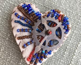 Mechanical Heart beaded pin