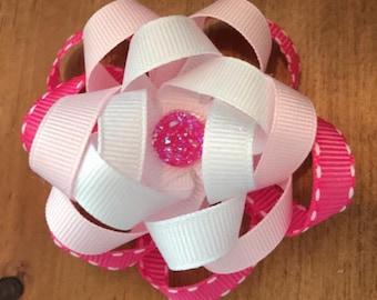 Triple loop flower hair bow with glitz center