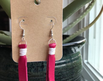Pink Faux Leather Tassle Earrings