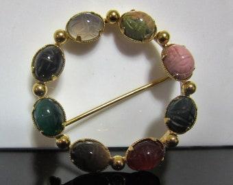 Egyptian Revival era Scarab C.R. Co 8-Stone Pin