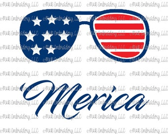 Sublimation Transfer (only) - 'Merica sunglasses - USA - stars - red white blue - patriotic - America - t-shirt - can cooler