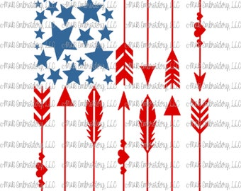 Sublimation Transfer (only) - Arrow Flag vertical- USA - stars - red white blue - patriotic - America - t-shirt - can cooler