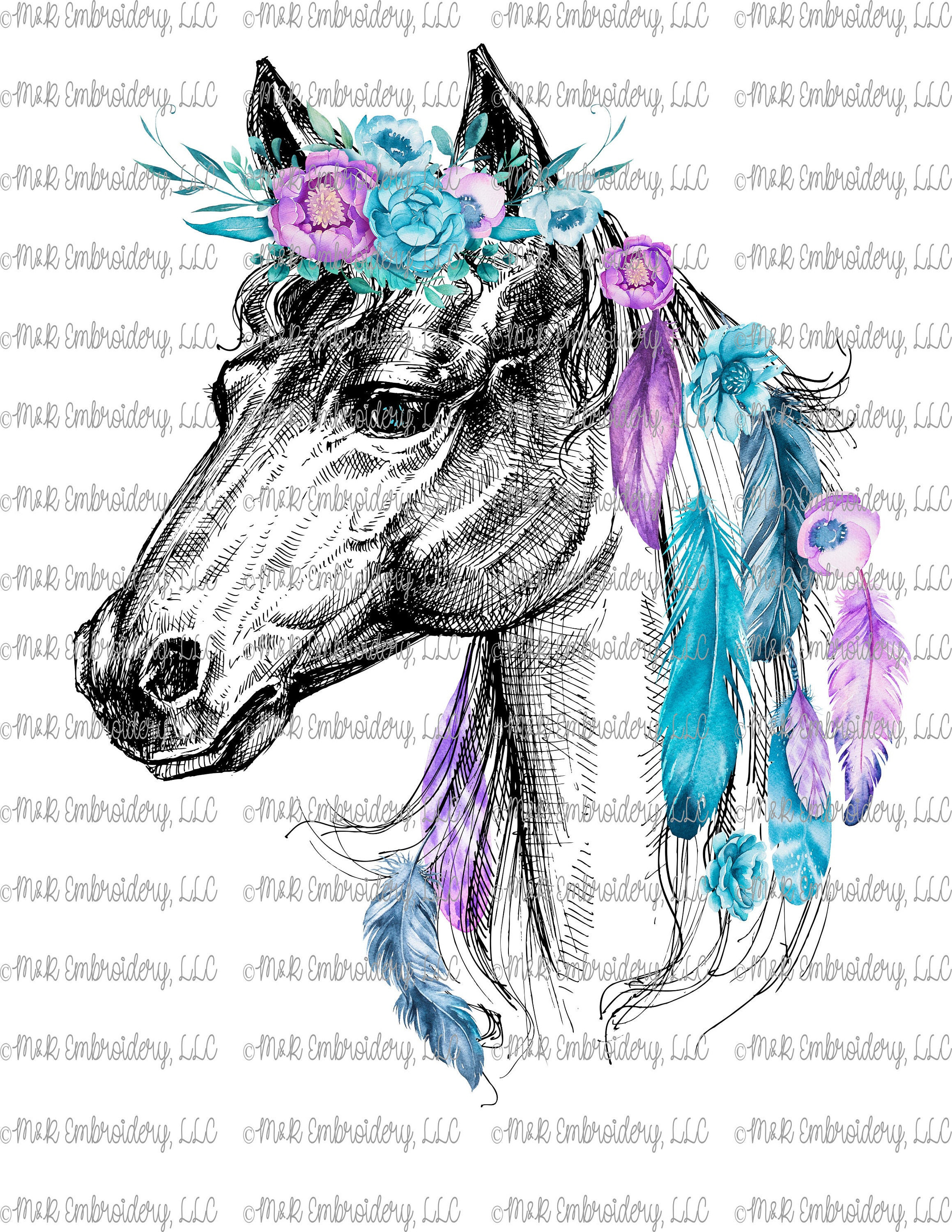 Sublimation Transfer Only Boho Horse Floral Feathers Etsy