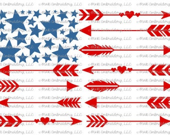 Sublimation Transfer (only) - Arrow Flag - USA - stars - red white blue - patriotic - America - t-shirt - can cooler