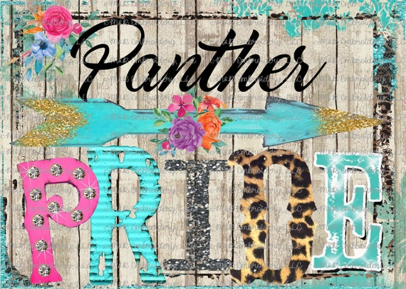 Panthers Team Spirit Rustic Marquee Ready To Press Sublimation Transfer