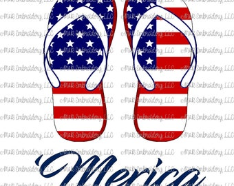 Sublimation Transfer (only) - 'Merica flip flops - USA - stars - red white blue - patriotic - America - t-shirt - can cooler