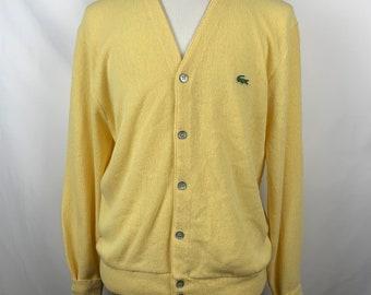 ee7b8392f5915 Vintage Izod Lacoste Mens Yellow Acrylic Cardigan Sweater