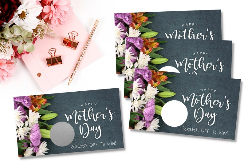 Mother's Day PRE DESIGNED Scratch Off Card | Scratch To Win Cards | Small  Business Branding | 3 5x2 Inches | Packaging Supplies |