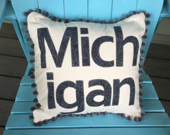 Michigan Throw Pillow with Grey Pom Pom Trim