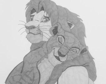 Simba and Nala ink drawing