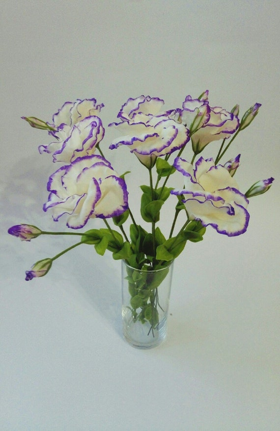 Bouquets 7 Flowers Eustoma Polymer Clay Flowers Gifts For Etsy