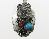 Native American buffalo pendant w turquoise coral ( -0301)