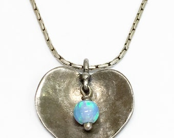 PEN-191 925 Sterling Silver Blue Fire Opal Cross Pendant Necklace
