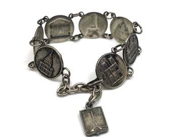 antique silver french souvenir bracelet kitsch boho piece 20s 30s paris landmarks francais