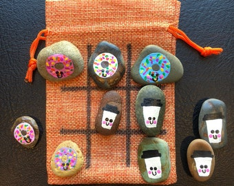 Hand Painted Coffee And Donuts Tic Tac Toe Rock Game. Painted Stones. Travel Game