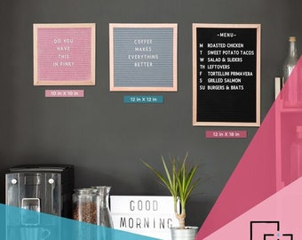 Felt Letter Board - Beautifully Handcrafted Oak Frame with Premium Quality Felt in Black / Pink / Grey and 10x10 / 12x12 / 12x18
